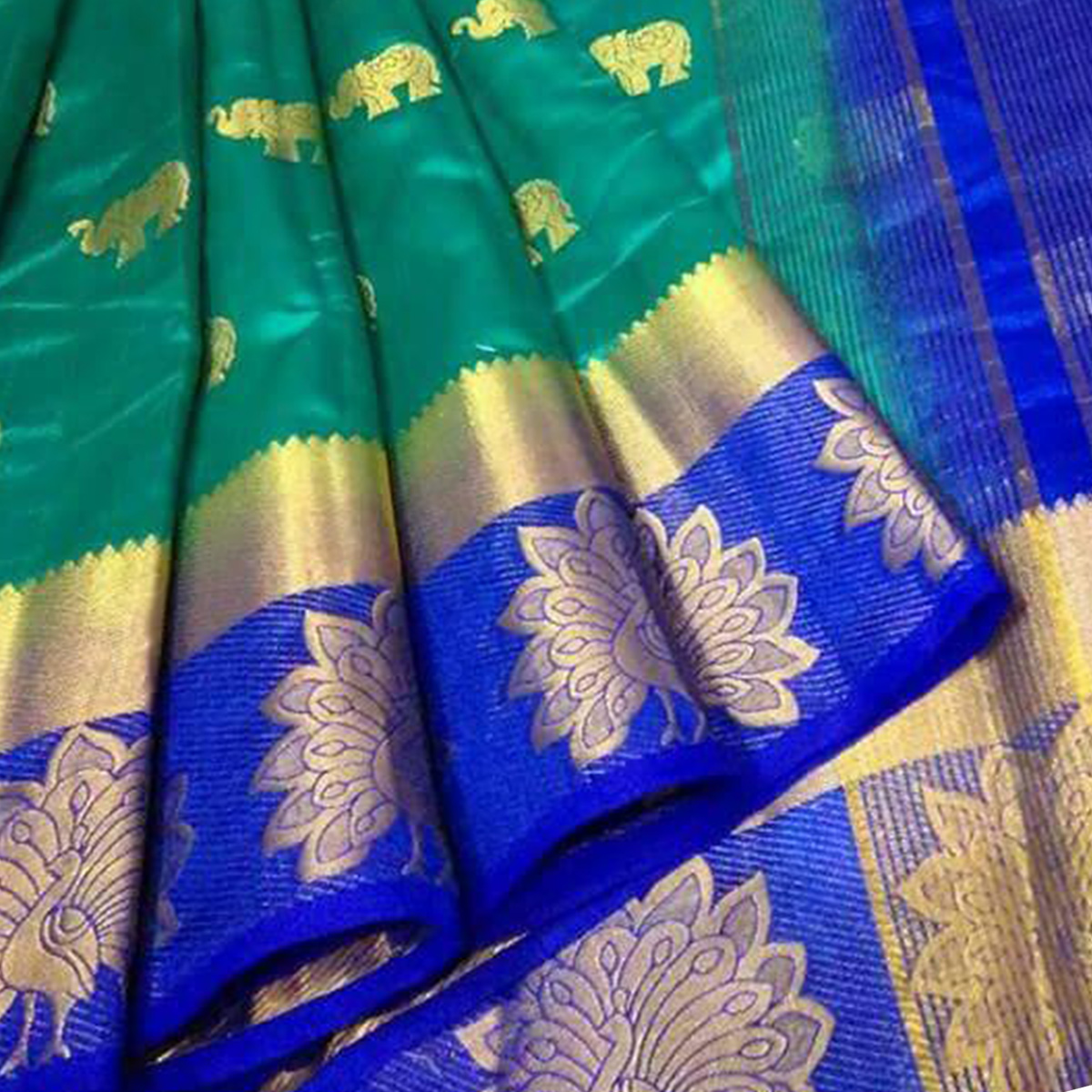 Impressive Teal Blue Colored Festive Wear Woven Tussar Silk Saree