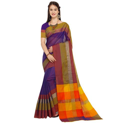 Alluring Blue - MultiColored Festive Wear Art Silk Saree
