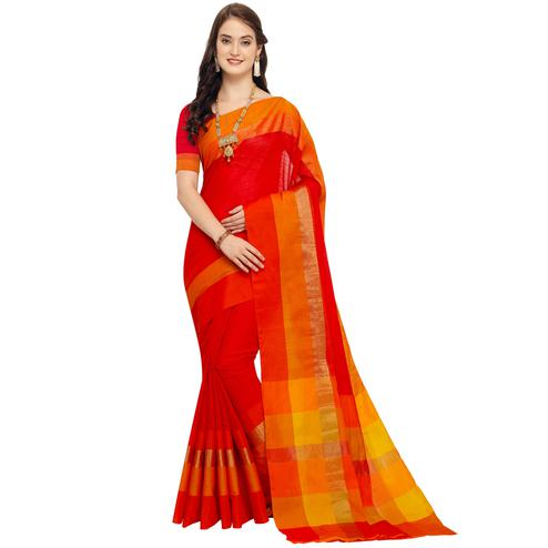 Stunning Red Colored Festive Wear Art Silk Saree