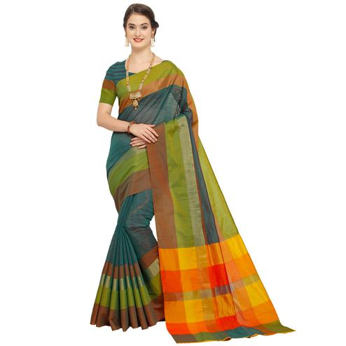 Ravishing Green - Multi Colored Festive Wear Art Silk Saree