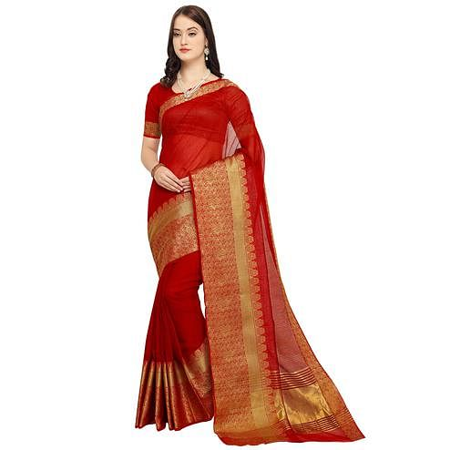 Charming Red Colored Festive Wear Art Silk Saree