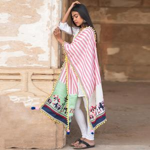Stunning Pink-White Colored Embroidered Khadi Cotton Dupatta