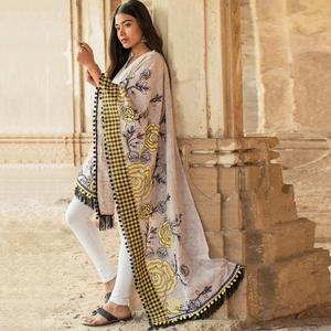 Blooming Gray Colored Embroidered Khadi Cotton Dupatta