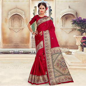 Beautiful Red Printed Bhagalpuri Silk Saree
