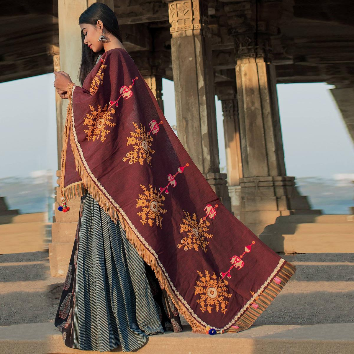 Eye-Catching Maroon Colored Embroidered Khadi Cotton Dupatta