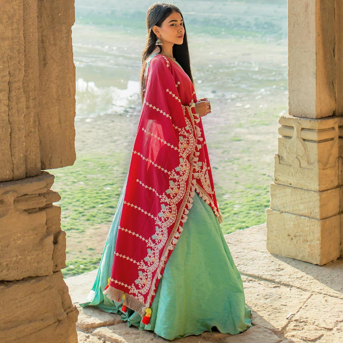 Glowing Red Colored Embroidered Khadi Cotton Dupatta