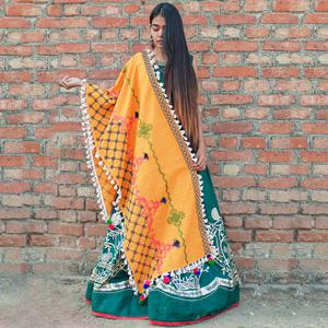 Gleaming Yellow Colored Embroidered Khadi Cotton Dupatta