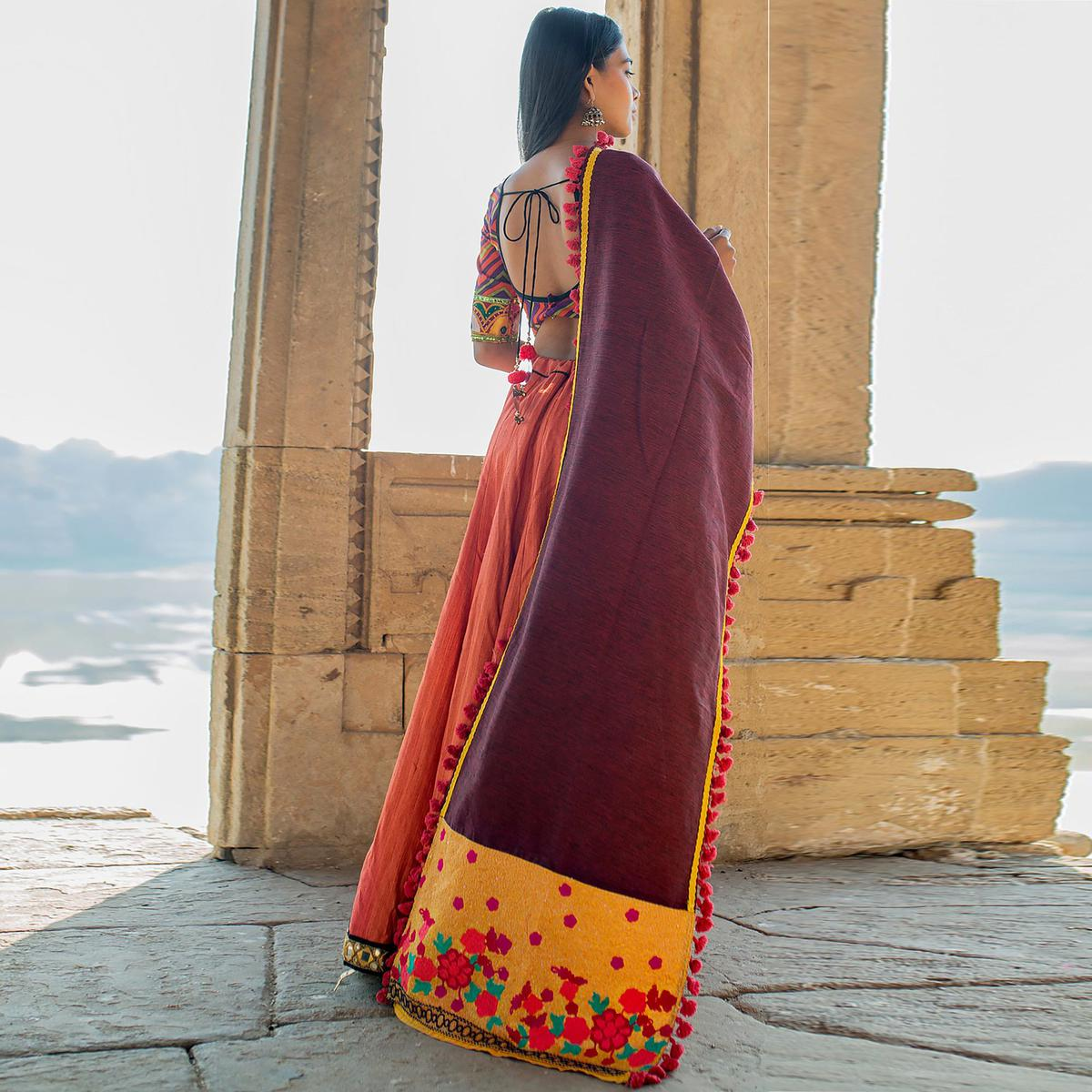 Excellent Wine Colored Embroidered Khadi Cotton Dupatta