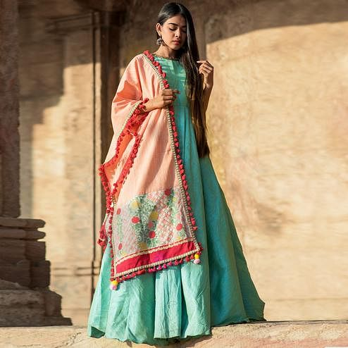 Beautiful Peach Colored Embroidered Khadi Cotton Dupatta