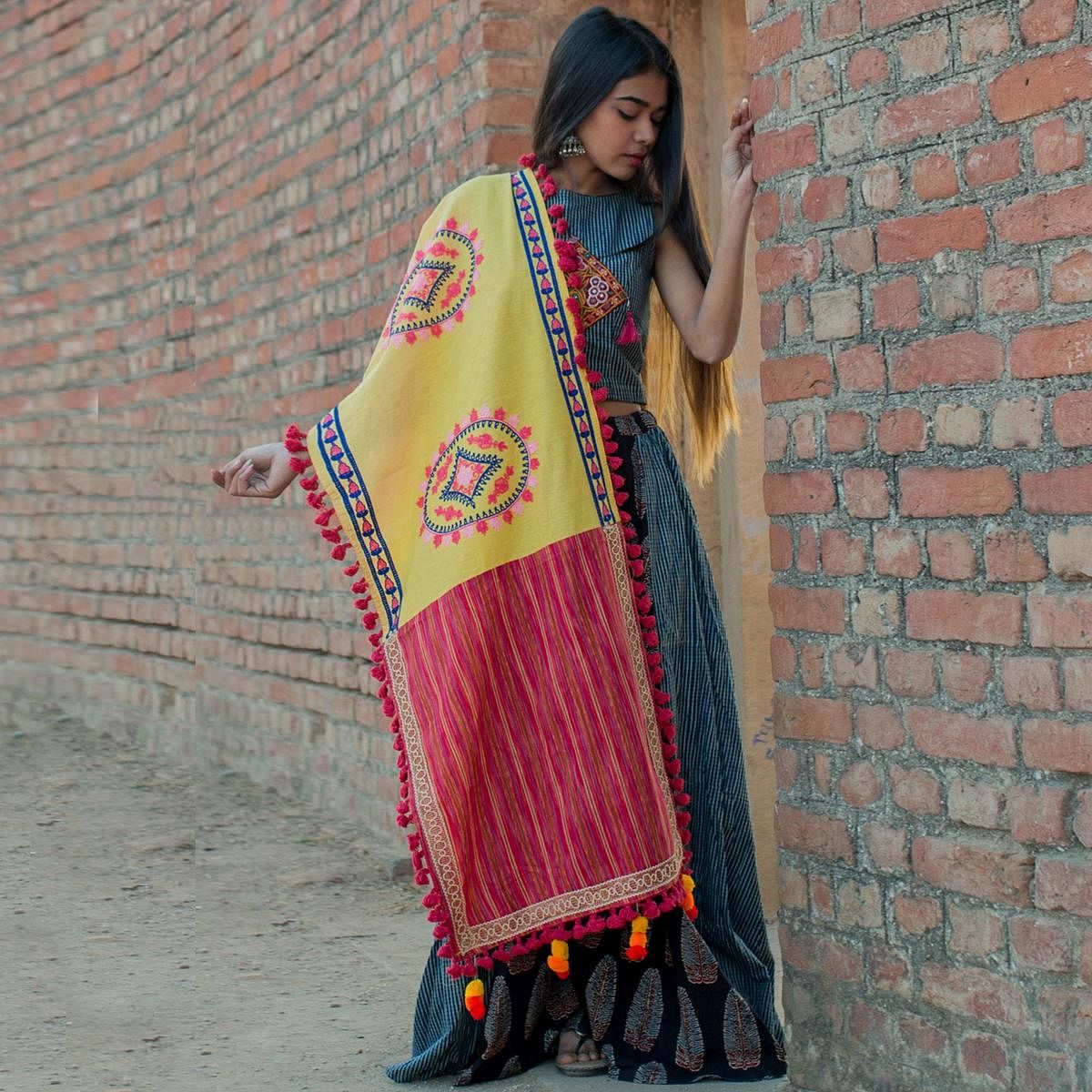 Different Yellow-Pink Colored Embroidered Khadi Cotton Dupatta