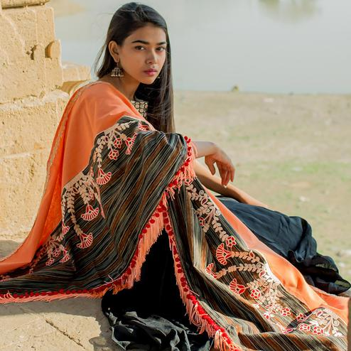 Trendy Orange-Multi Colored Embroidered Khadi Cotton Dupatta