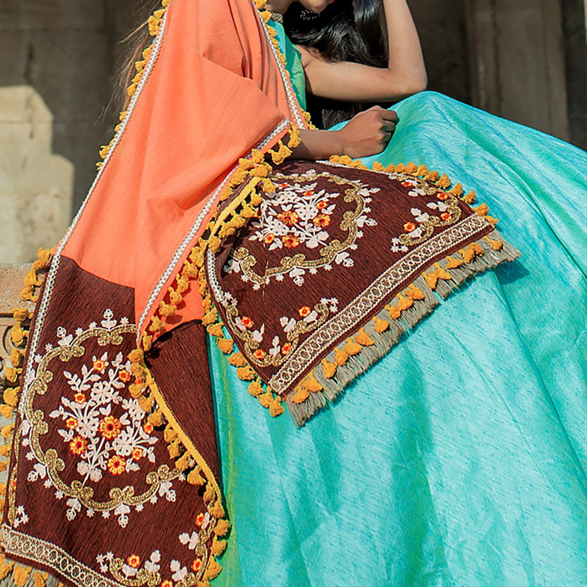Magnetic Orange-Brown Colored Embroidered Khadi Cotton Dupatta