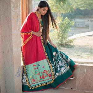 Charming Dark Pink-Aqua Blue Colored Embroidered Khadi Cotton Dupatta