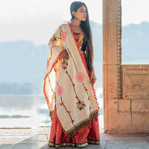 Appealing Cream Colored Embroidered Khadi Cotton Dupatta