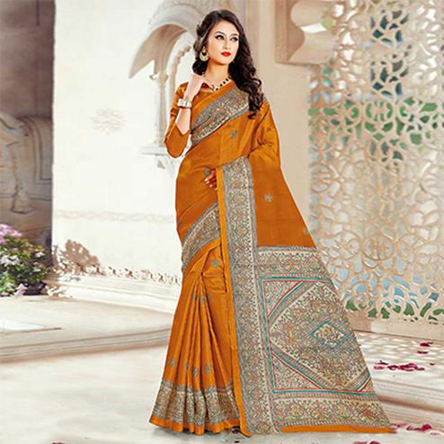 Beautiful Yellow Printed Bhagalpuri Silk Saree