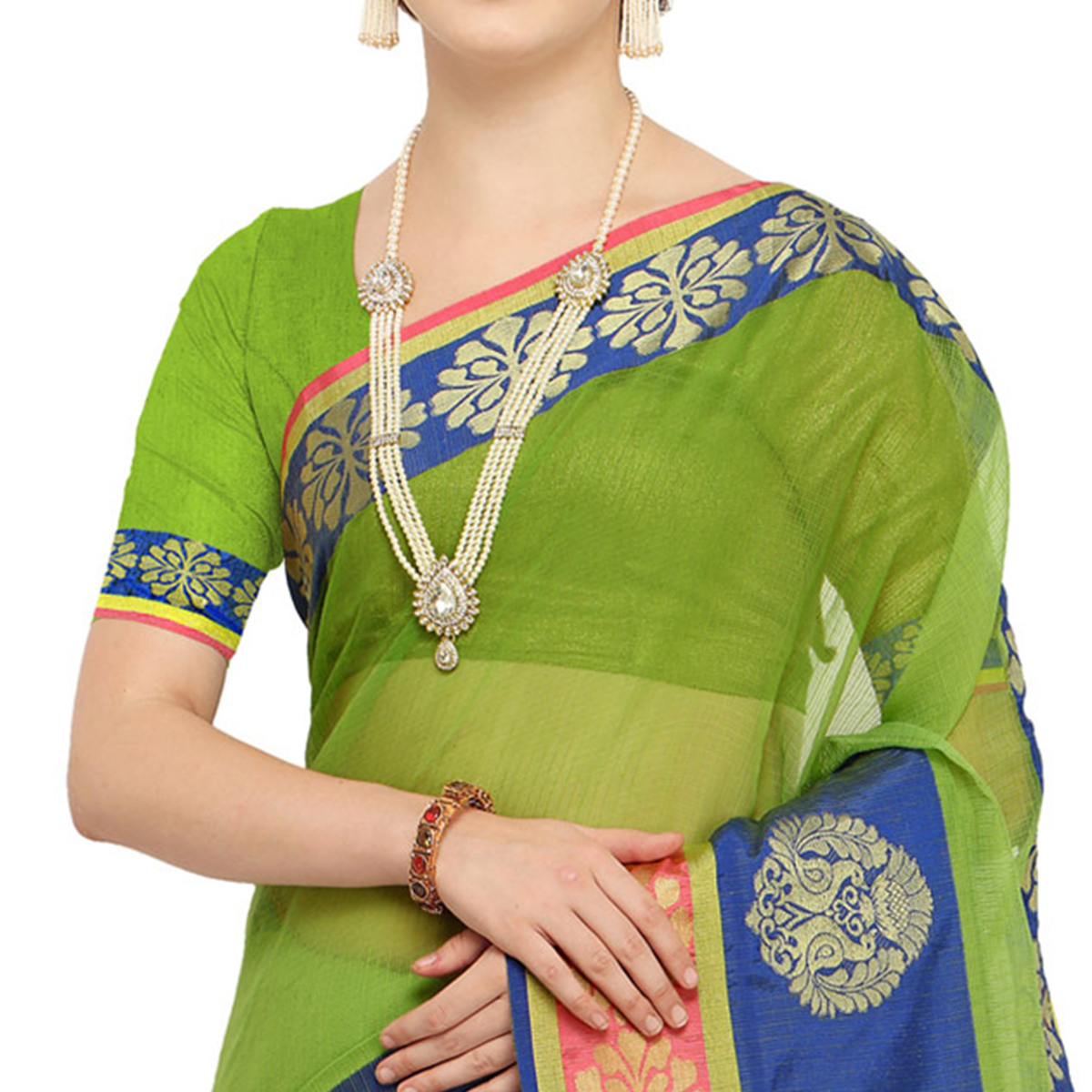 Blooming Green Colored Festive Wear Art Silk Saree