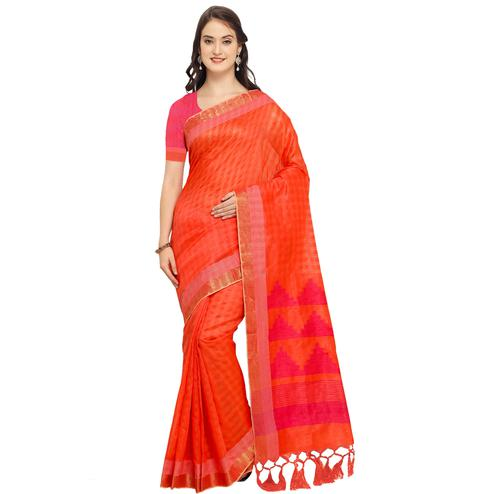 Marvellous Red-Pink Colored Festive Wear Art Silk Saree