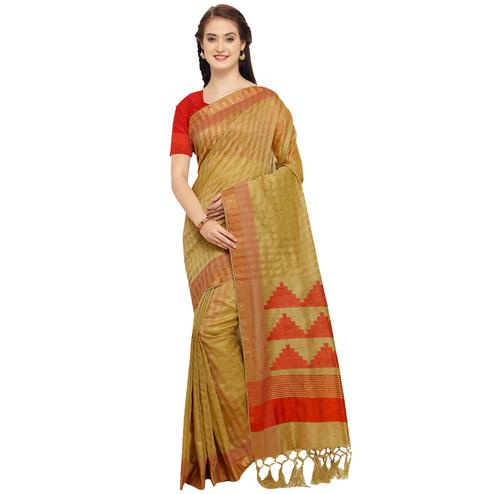 Mesmerising Olive Green Colored Festive Wear Art Silk Saree