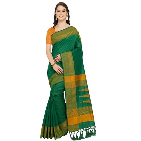Ravishing Green Colored Festive Wear Art Silk Saree