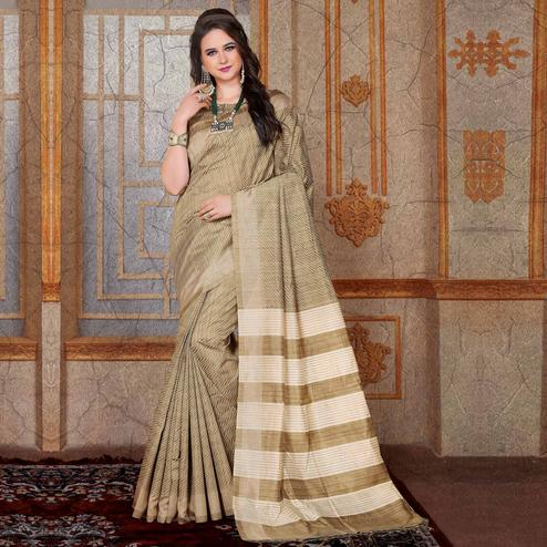 Elegant Beige Colored Festive Wear Printed Bhagalpuri Silk Saree