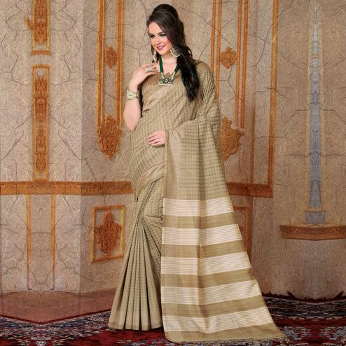 Appealing Beige Colored Festive Wear Printed Bhagalpuri Silk Saree