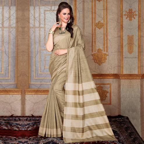 Beautiful Beige Colored Festive Wear Printed Bhagalpuri Silk Saree