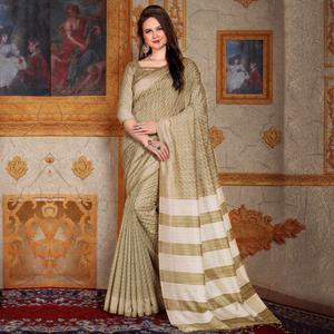 Impressive Beige Colored Festive Wear Printed Bhagalpuri Silk Saree
