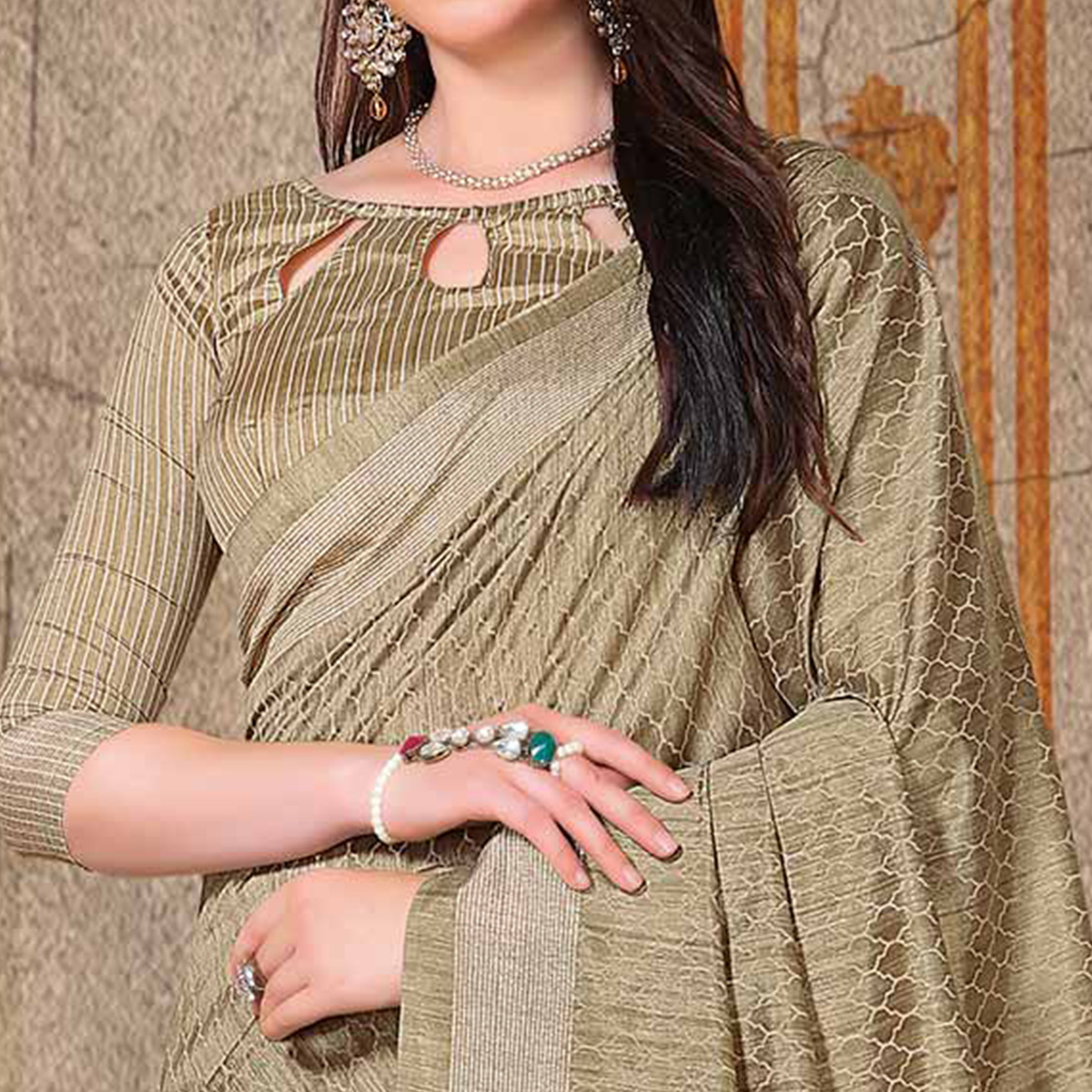 Adorning Beige Colored Festive Wear Printed Bhagalpuri Silk Saree