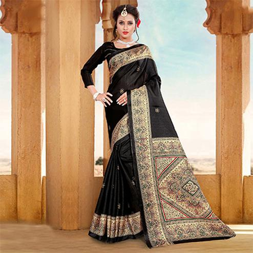 Beautiful Black Printed Bhagalpuri Silk Saree