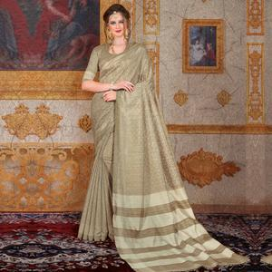 Mesmeric Beige Colored Festive Wear Printed Bhagalpuri Silk Saree
