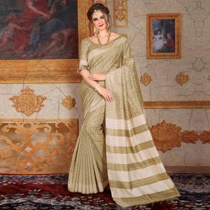 Classy Beige Colored Festive Wear Printed Bhagalpuri Silk Saree