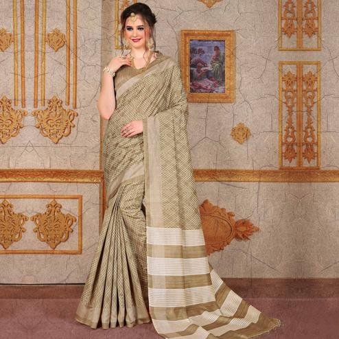 Lovely Beige Colored Festive Wear Printed Bhagalpuri Silk Saree