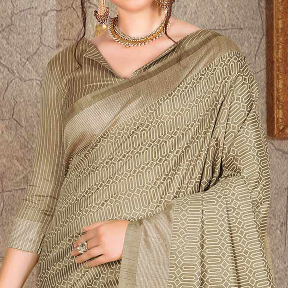 Pleasant Beige Colored Festive Wear Printed Bhagalpuri Silk Saree