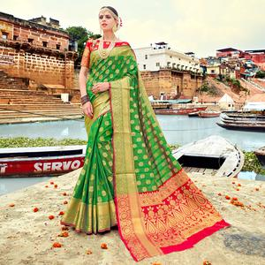 Exceptional Green Colored Festive Wear Woven Silk Saree
