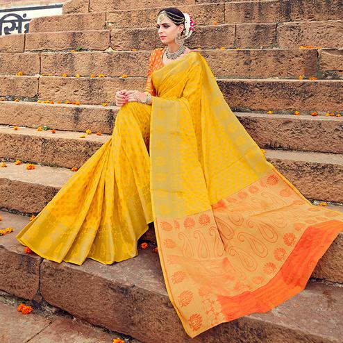 Excellent Mustard Yellow Colored Festive Wear Woven Silk Saree