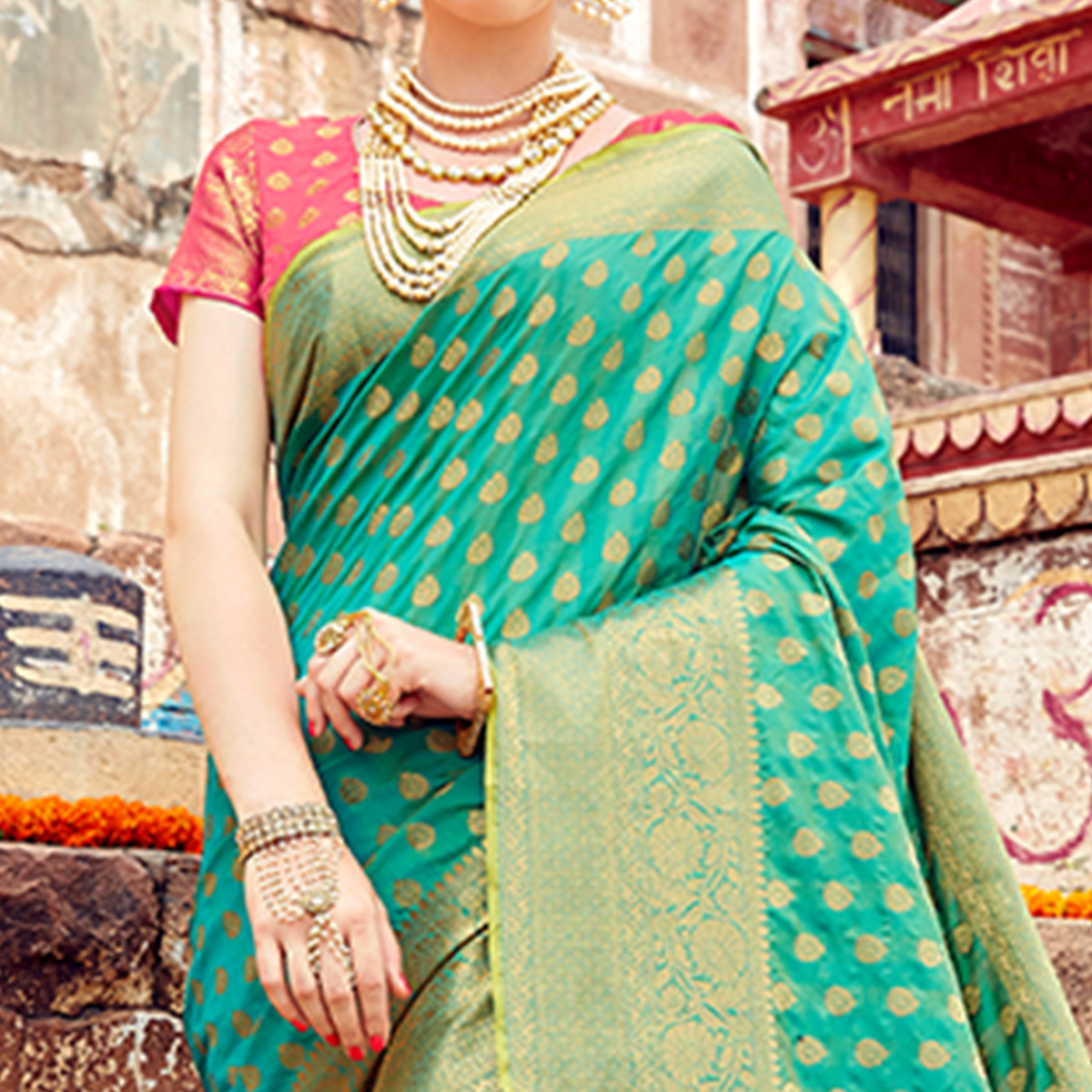 Ethnic Turquoise Green Colored Festive Wear Woven Silk Saree