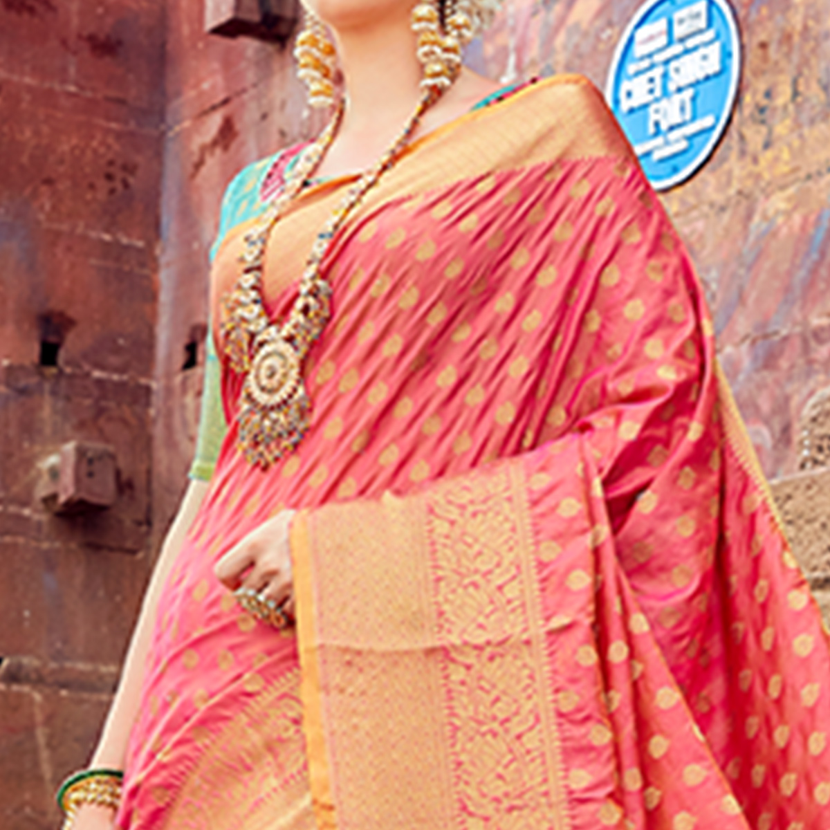 Starring Pink Colored Festive Wear Woven Silk Saree