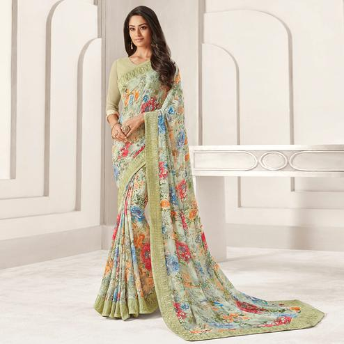 Majesty Pastel Green Colored Casual Printed Georgette Saree