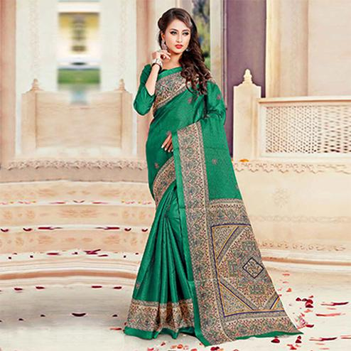 Beautiful Green Printed Bhagalpuri Silk Saree