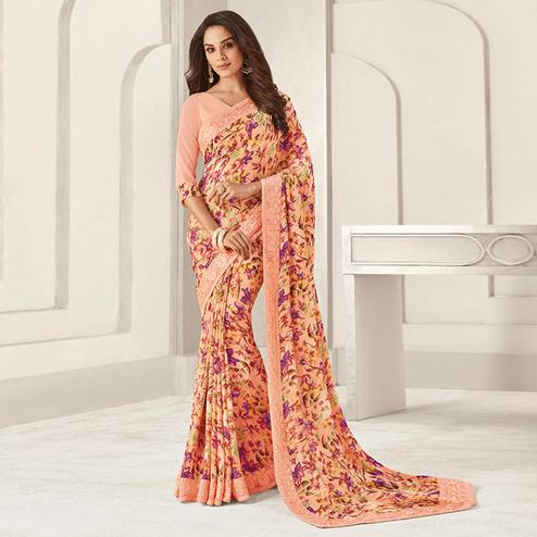 Attractive Peach Colored Casual Printed Georgette Saree