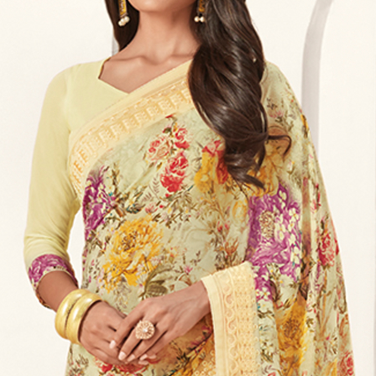 Beautiful Light Yellow Colored Casual Printed Georgette Saree