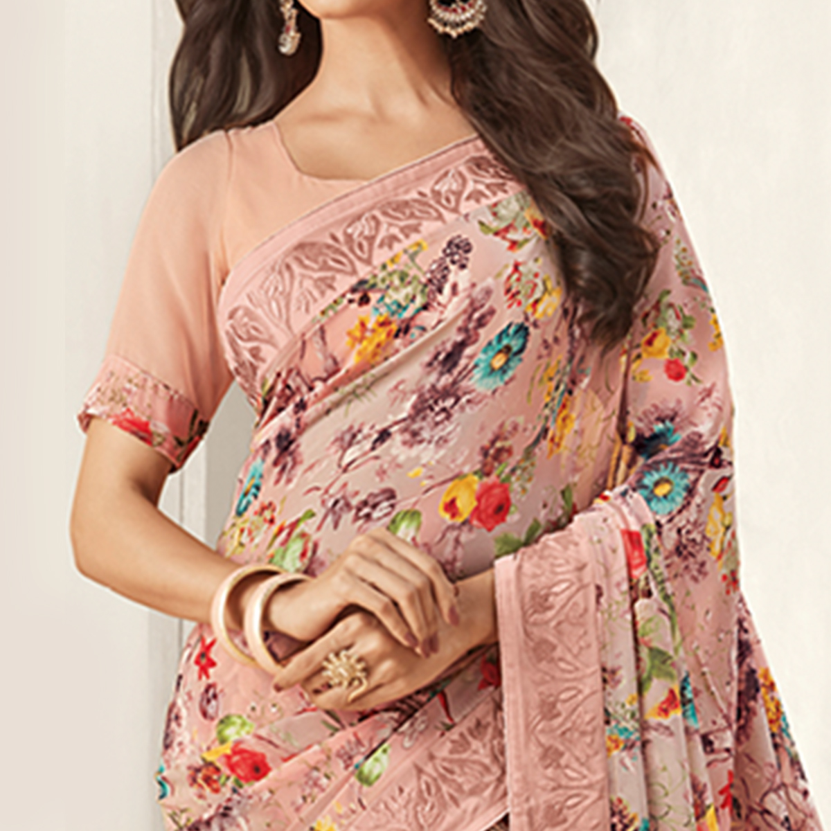 Gorgeous Pink Colored Casual Printed Georgette Saree