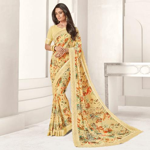 Graceful Light Yellow Colored Casual Printed Georgette Saree