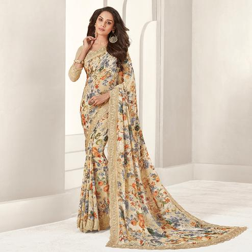 Lovely Multicolored Casual Printed Georgette Saree