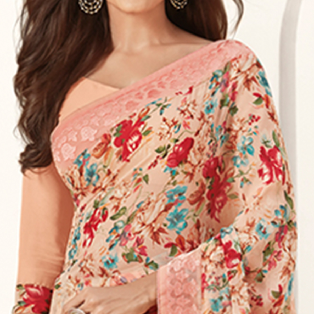 Charming Pink Color Casual Printed Georgette Saree