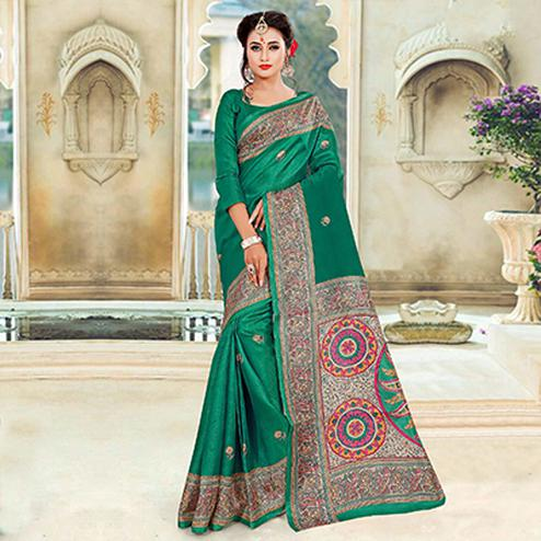 Lovely Green Printed Bhagalpuri Silk Saree