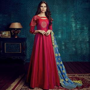 Prominent Pink Colored Party Wear Embroidered Tapetta Silk Gown