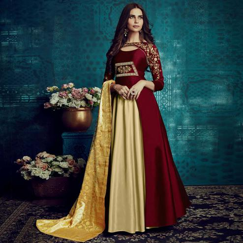Adorning Maroon-Beige Colored Party Wear Embroidered Tapetta Silk Gown