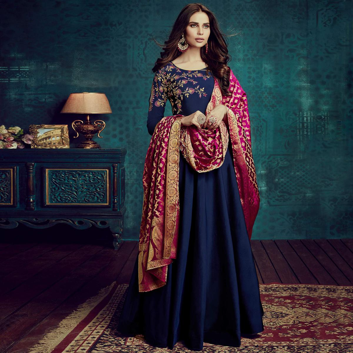 Breathtaking Navy Blue Colored Party Wear Embroidered Tapetta Silk Gown