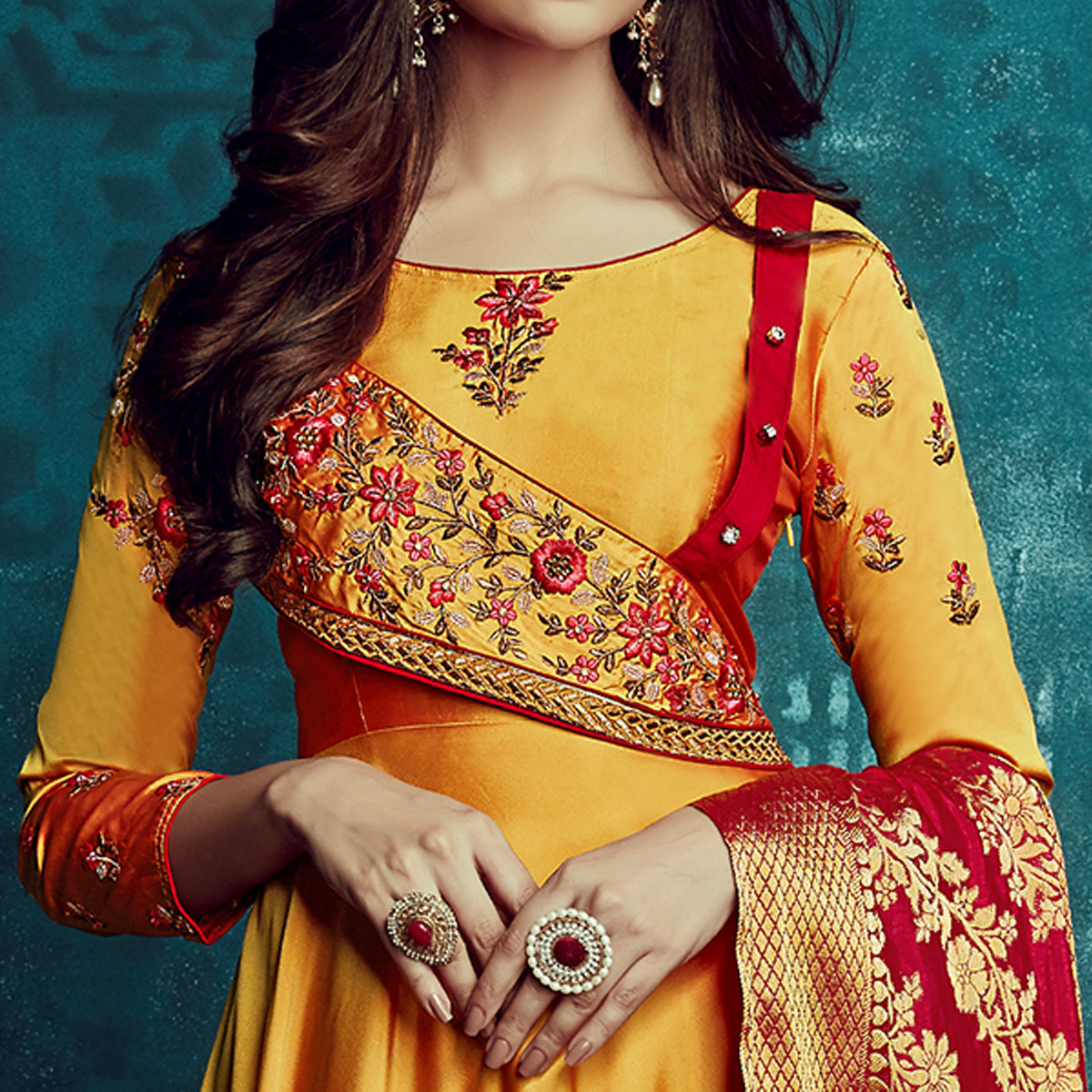Innovative Mustard Yellow Colored Party Wear Embroidered Tapetta Silk Gown